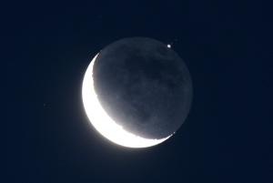 waning moon with Jupiter