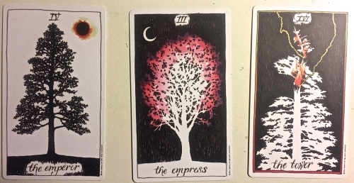 Three tarot cards