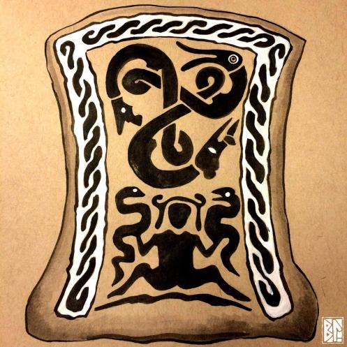 Triskelion Drawing with birth goddess BL