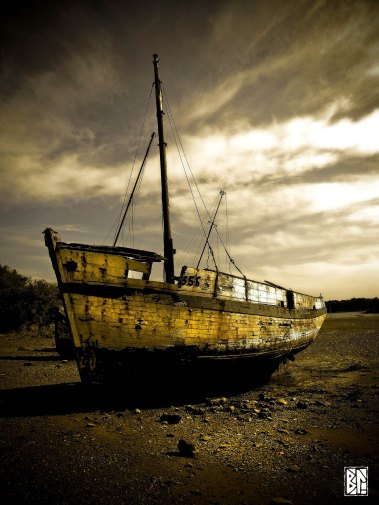 ruined ship on beach BL