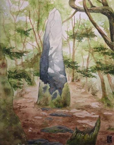 Menhir in Bretagne watercolor BL