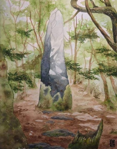 Menhir in Bretagne watercolor BL