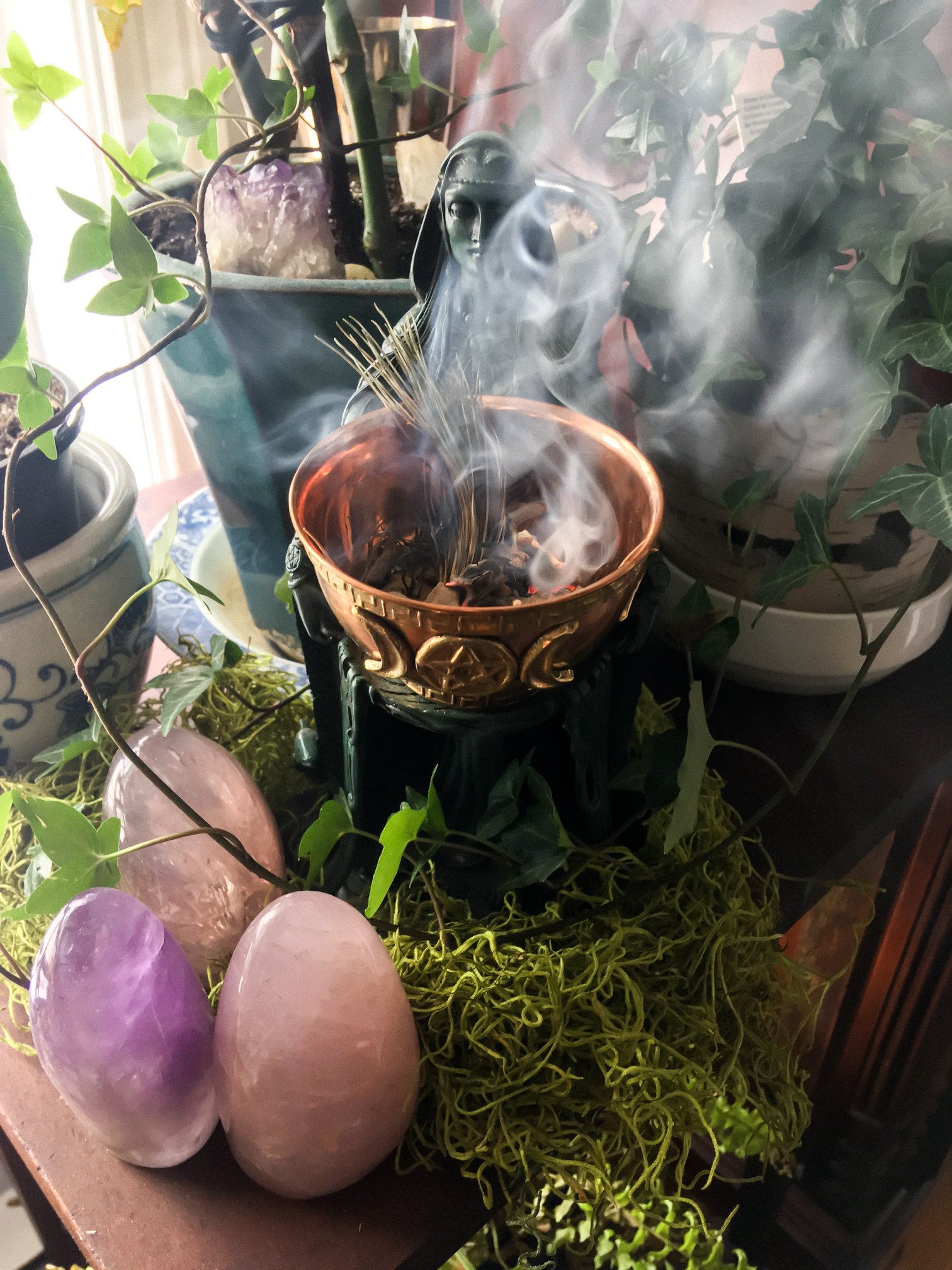 crystal eggs and smudge pot